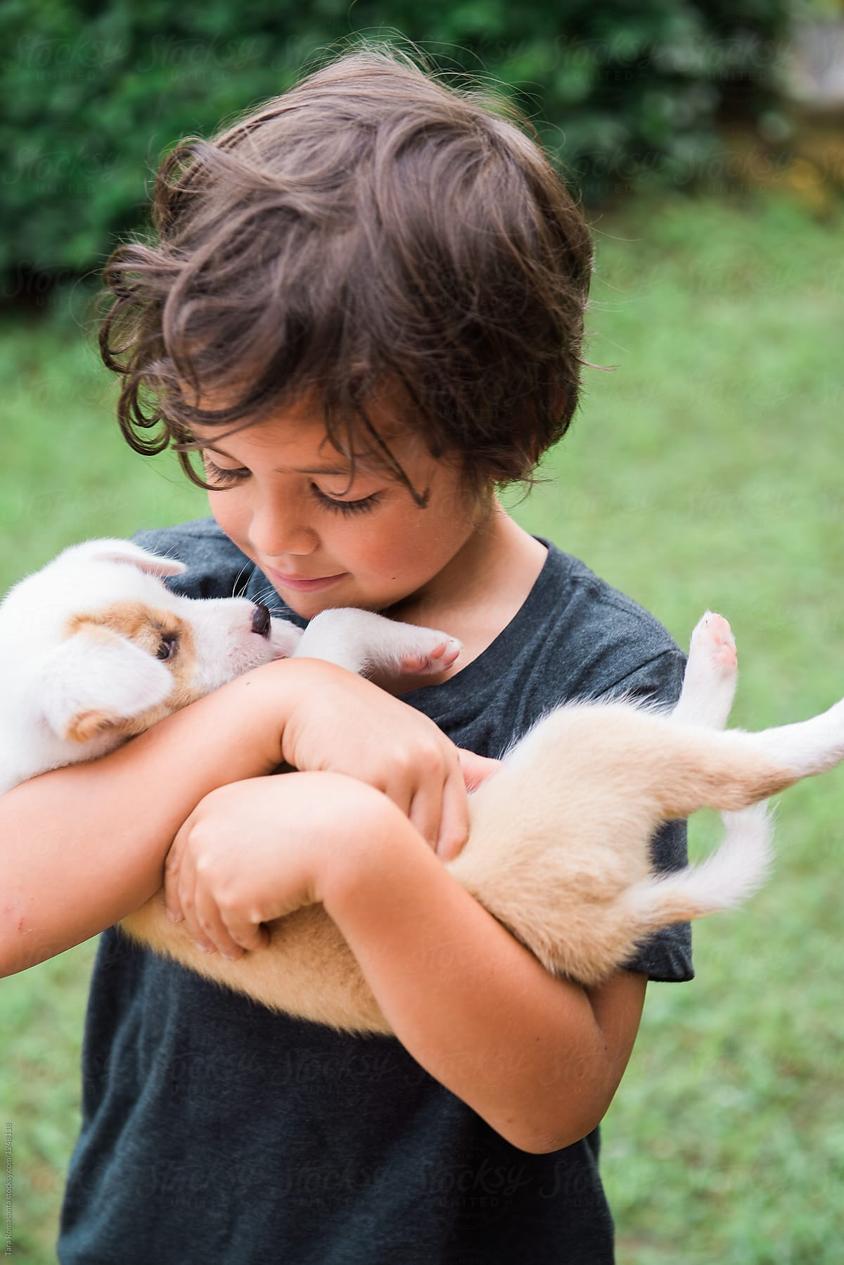 holding a puppy